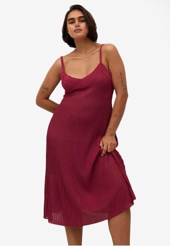Violeta by MANGO red Pleated Midi Dress F979EAAD3F2ECEGS_1