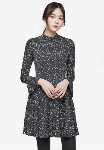 NAIN black Printed Skater Dress NA323AA0S6AWMY_1