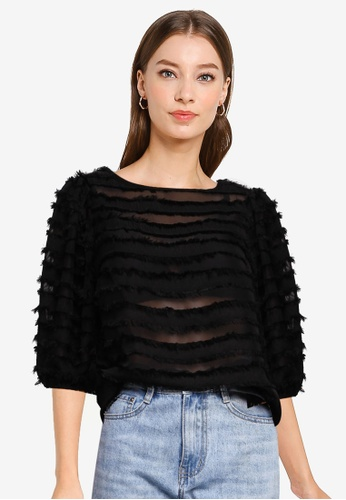 Dorothy Perkins black Black Tassel Puff Sleeve Top CCE32AAD846429GS_1