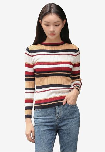 3df4116278c238 Shop NAIN Multi Stripe Knit Top Online on ZALORA Philippines