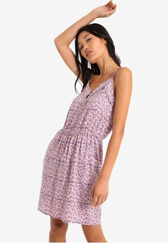 PIMKIE purple Elastic Waist Print Dress 78B1FAAD2B3F03GS_1