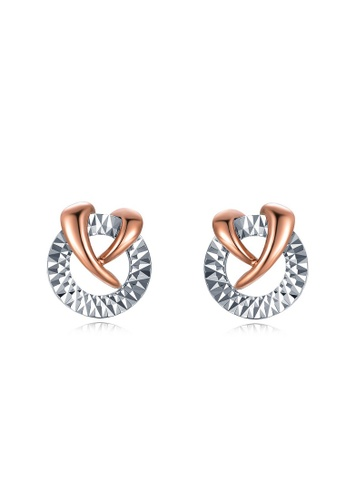 MaBelle silver 14K 585 White and Rose Gold Diamond Cut Circle Cross Stud Earrings D6E94AC6738827GS_1
