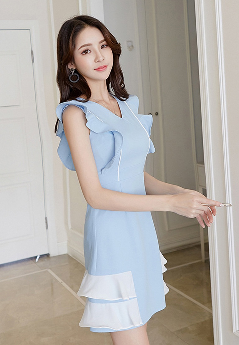 Blue Sleeveless Dress Blue Light 2018 New Sunnydaysweety Piece One A061216BL Et7zwq