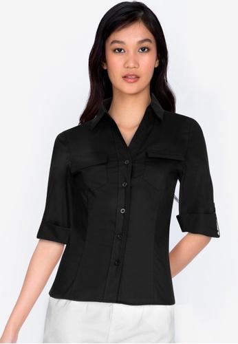ZALORA BASICS 黑色 Chest-Pocket Shirt 52706AA6A58E2AGS_1