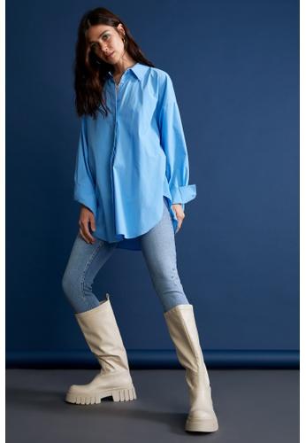 DeFacto blue Long Sleeve Cotton Shirt C857BAA384D0DEGS_1
