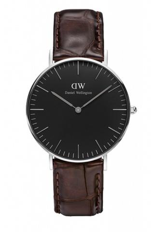 Daniel Wellington silver and brown Classic Black York Watch 36mm DA376AC69NBYMY_1
