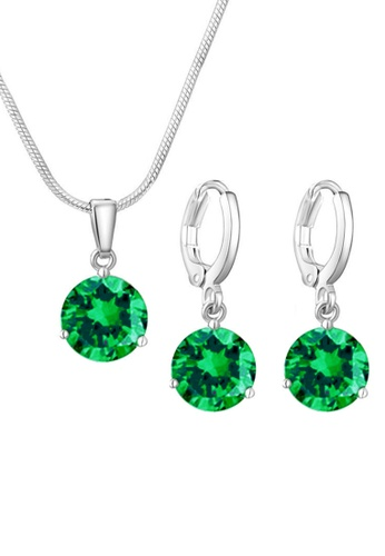 YOUNIQ green YOUNIQ Elsa Silver Necklace Pendant with Brilliant Cut Cubic Zirconia & Earrings set (Green) YO999AC0S8U0MY_1
