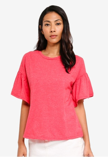 UniqTee red Short Bell Sleeve Tee 82128AA1974A13GS_1