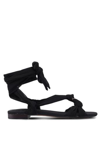 Mango 黑色 扭結繞帶涼鞋 589F6SHA8406ADGS_1