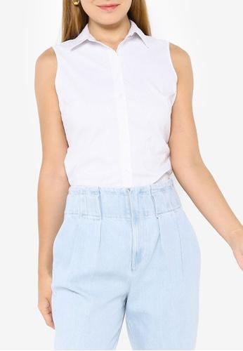 Banana Republic white Riley Tailored-Fit Sleeveless Shirt 93148AA2F6B86EGS_1