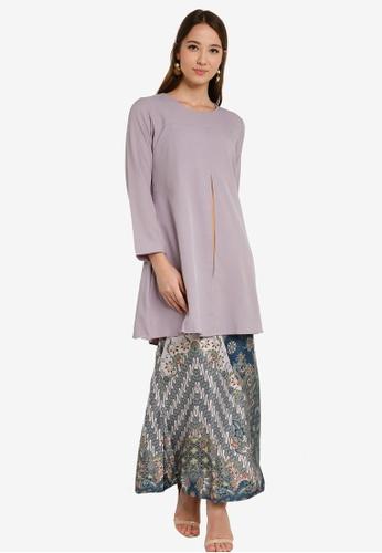 Cardigan Baju Kurung from Aqeela Muslimah Wear in Grey