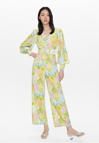 Pomelo green Floral Oversized Belt Jumpsuit - Green C4DD6AA9F57120GS_1