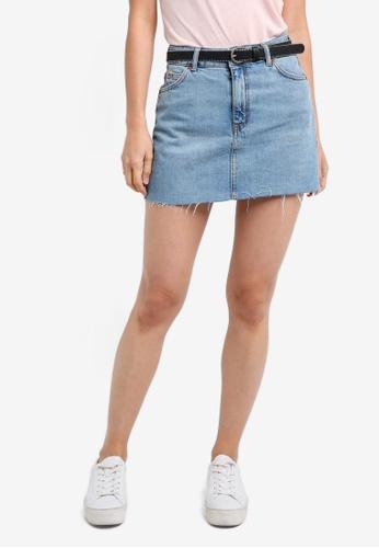 TOPSHOP blue Petite High Waisted Denim Skirt TO412AA0RZF0MY_1