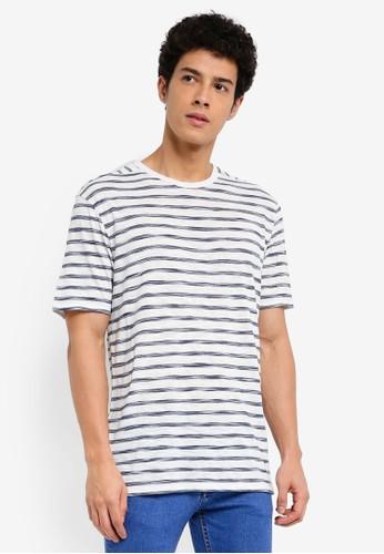 MANGO Man blue Striped Slub T-Shirt CA1A1AA0753098GS_1