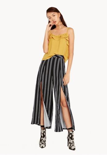 Pomelo black Celina Striped Wide Pants 5685AAAAE2C285GS_1