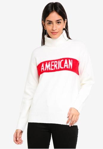 16220337a91fa Guess white Guess Color Block High Neck Sweater 5CECBAA32FEC49GS 1