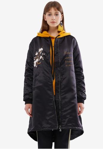 Hopeshow black Long Bomber Jacket with Embroidery E96FAAA415AC4DGS_1