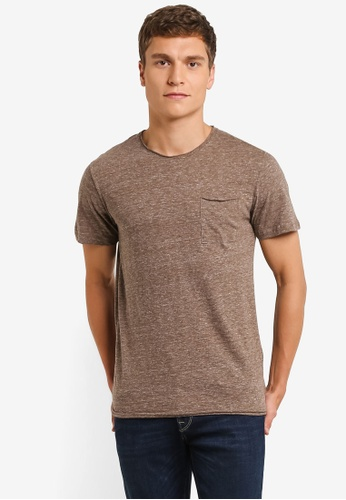 Selected Homme brown Short Sleeve Crew Neck Tee SE364AA0RMD7MY_1