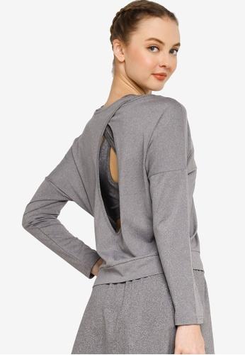 ZALORA ACTIVE 灰色 Open Back Long Sleeves Top CC03EAA3D8BBF6GS_1