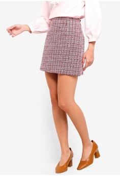 26d7b8f79f88 ZALORA white and red Tweed Mini Skirt E3D82AA02952DEGS 1