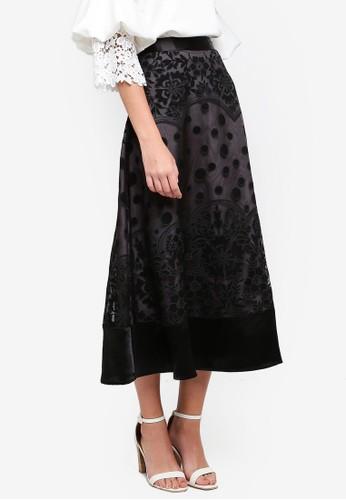 bYSI black Floral Dotted Mesh Skirt 077DDAA469EC78GS_1