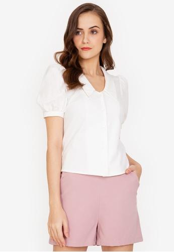 ZALORA WORK white Puff Sleeve Collar Shirt 0BCDBAA66E596BGS_1
