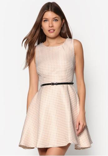 Premium 印花腰帶洋裝, 服zalora 評價飾, 洋裝
