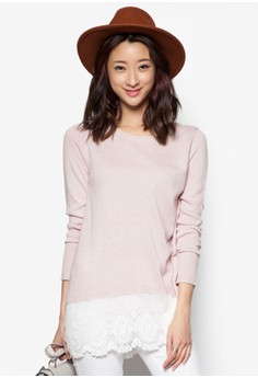Two-Tone Wool Lace Long Top