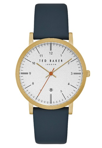 TED BAKER blue and gold Ted Baker Men's TE15088003 Sammuel Leather Strap  Analog Watch 52D7DACA09C2B4GS_1
