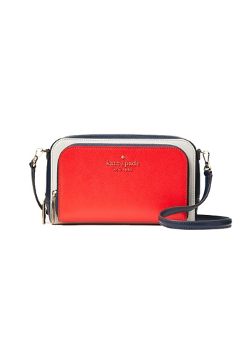 Kate Spade red and multi Kate Spade Staci Dua Zip Around Crossbody Bag In Colorblock Red Multi WLR00411 38E20AC476D371GS_1