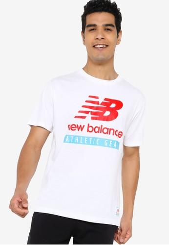 New Balance white Essentials Logo Tee 96C5DAAB73E751GS_1