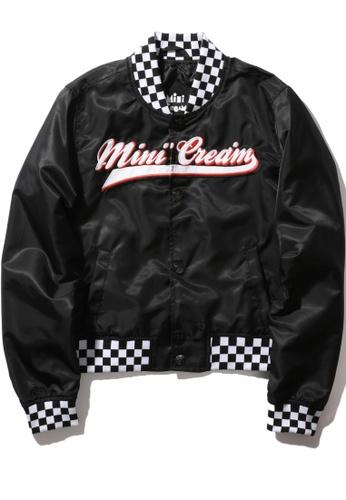 Mini cream black Two-tone paneled logo bomber jacket BE07AAAB7818C7GS_1
