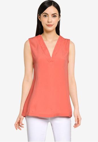 Vero Moda orange Kamila Sleeveless V-Neck Top A19D8AAC305EE5GS_1