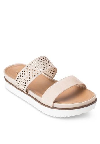 Daozalora 心得viel 雕花寬帶厚底涼鞋, 女鞋, 鞋