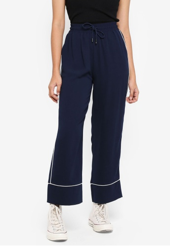 Something Borrowed navy Contrast Piping Pants 23D34AA33A4F04GS_1