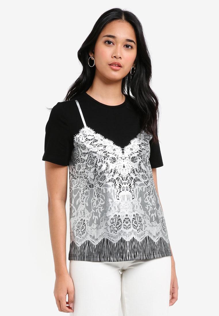 Print Black Borrowed Something Tee Lace vO4FnnqE