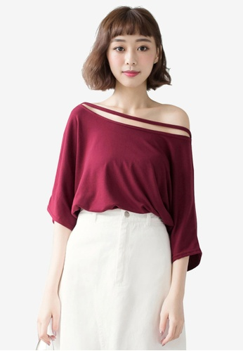 Tokichoi red Casual Uneven Neck Top 98E44AA13292EEGS_1