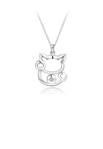 Glamorousky white Fashion Simple Cat Pendant with Cubic Zircon and Necklace 9E678AC33AE67AGS_1