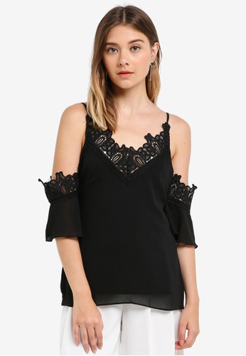 Lipsy black Lace Insert Cold Shoulder Cami Strap Top 25315AA663F06DGS_1