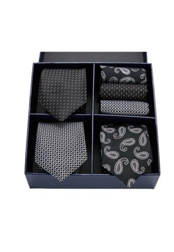 Kings Collection black Tie, Pocket Square 6 Pieces Gift Set (UPKCBT2115) 238DCACC2FB6AFGS_1