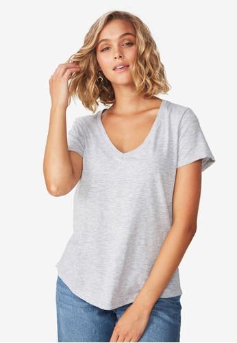 Cotton On grey The Deep V Tee D21FDAAE499524GS_1