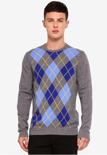 United Colors of Benetton 灰色 菱格紋羊毛保暖衫 1C354AAA83F88CGS_1