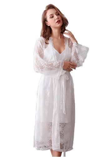 LYCKA 白色 LCB8027-女士居家蕾絲睡衣兩件套-白色 4DACEAA458EC7AGS_1