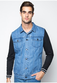 Denim Trucker Jacket with Knitted Sleeves