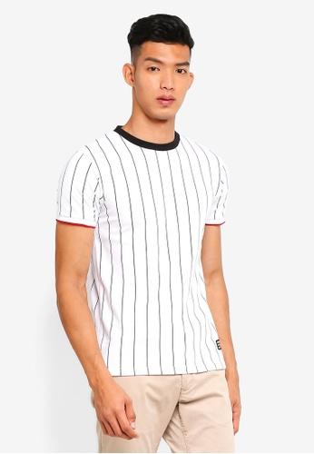 Penshoppe 白色 短袖條紋T恤 32213AA6AE6006GS_1