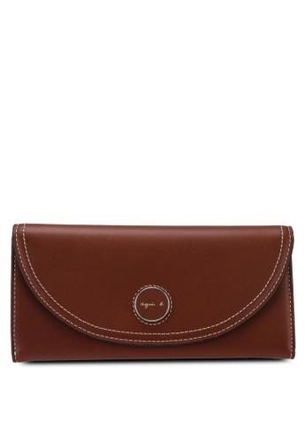 agnès b. brown Stitch Detail Front-Flap Wallet A287BAC941B676GS_1
