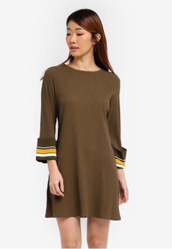 ZALORA green Shift Rib Dress With Stripe Cuff D23E3AAD3BE993GS_1