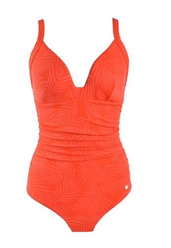 Sunseeker red Minimal Cool D Cup One-piece Swimsuit 7E1F8USC9CD1F3GS_1