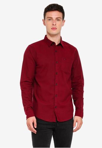 Hollister 紅色 長袖牛津襯衫 B6AA9AAA6C2627GS_1