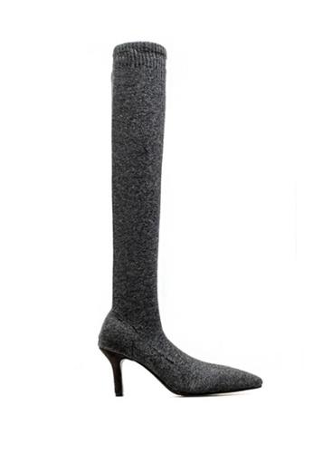 Twenty Eight Shoes grey Socking Supper Skinny Over Knee Heel Boot 2268 AC357SH7060574GS_1